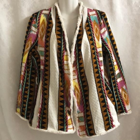 H&M Jackets & Blazers - H&M Aztec /boho knitted blazer sz M colorful